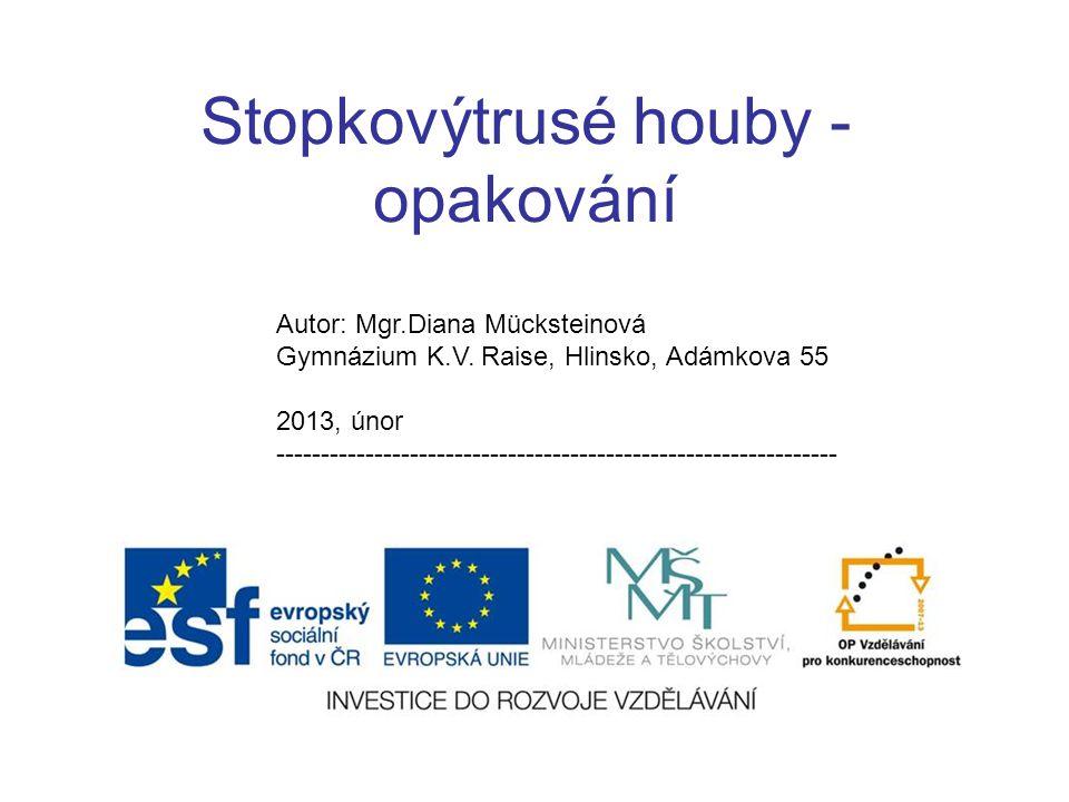 Stopkovýtrusé houby - opakování Autor: Mgr.Diana Mücksteinová Gymnázium K.V. Raise, Hlinsko, Adámkova 55 2013, únor ----------------------------------