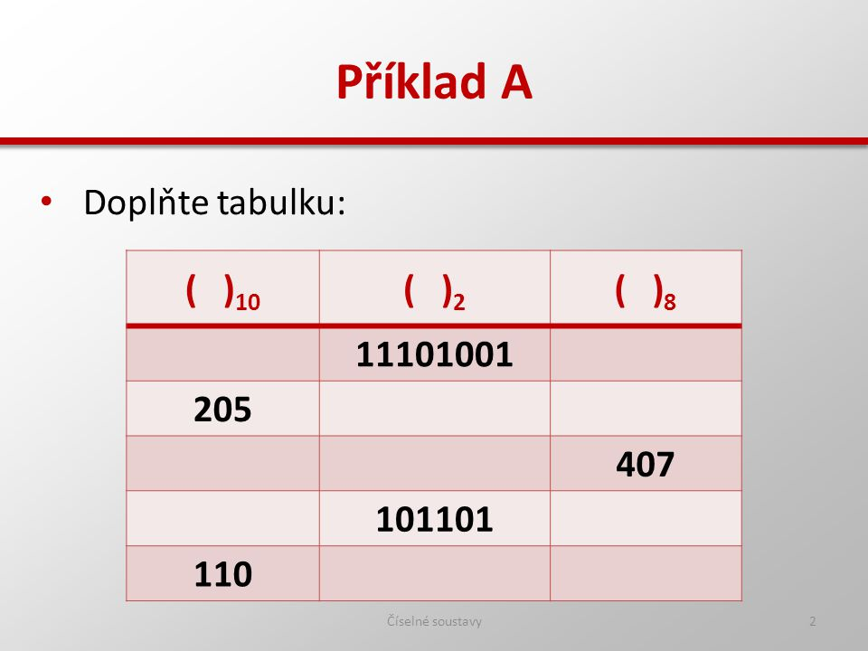 Příklad A Číselné soustavy2 Doplňte tabulku: ( ) 10 ( ) 2 ( ) 8 11101001 205 407 101101 110