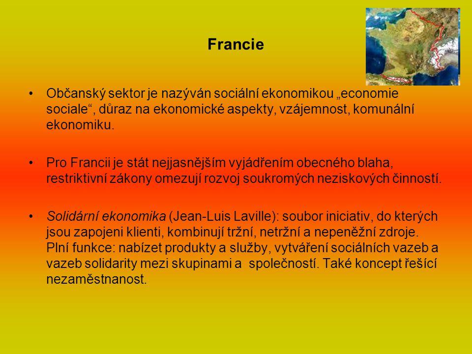 """Francie Občanský sektor je nazýván sociální ekonomikou """"economie sociale , důraz na ekonomické aspekty, vzájemnost, komunální ekonomiku."""