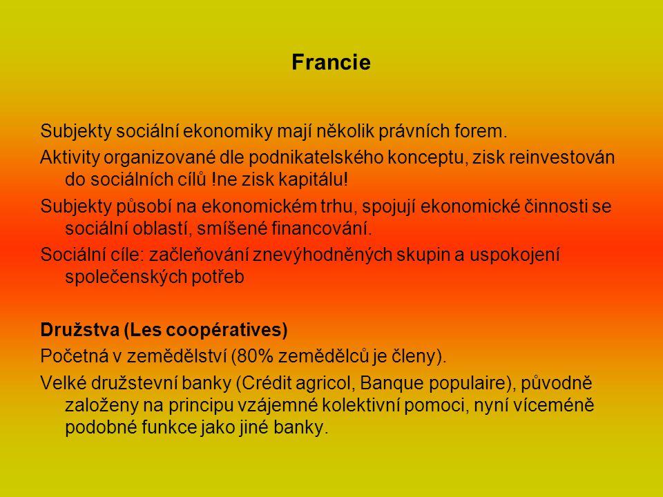 Francie Subjekty sociální ekonomiky mají několik právních forem.