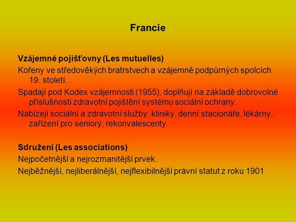 Francie Vzájemné pojišťovny (Les mutuelles) Kořeny ve středověkých bratrstvech a vzájemně podpůrných spolcích 19.