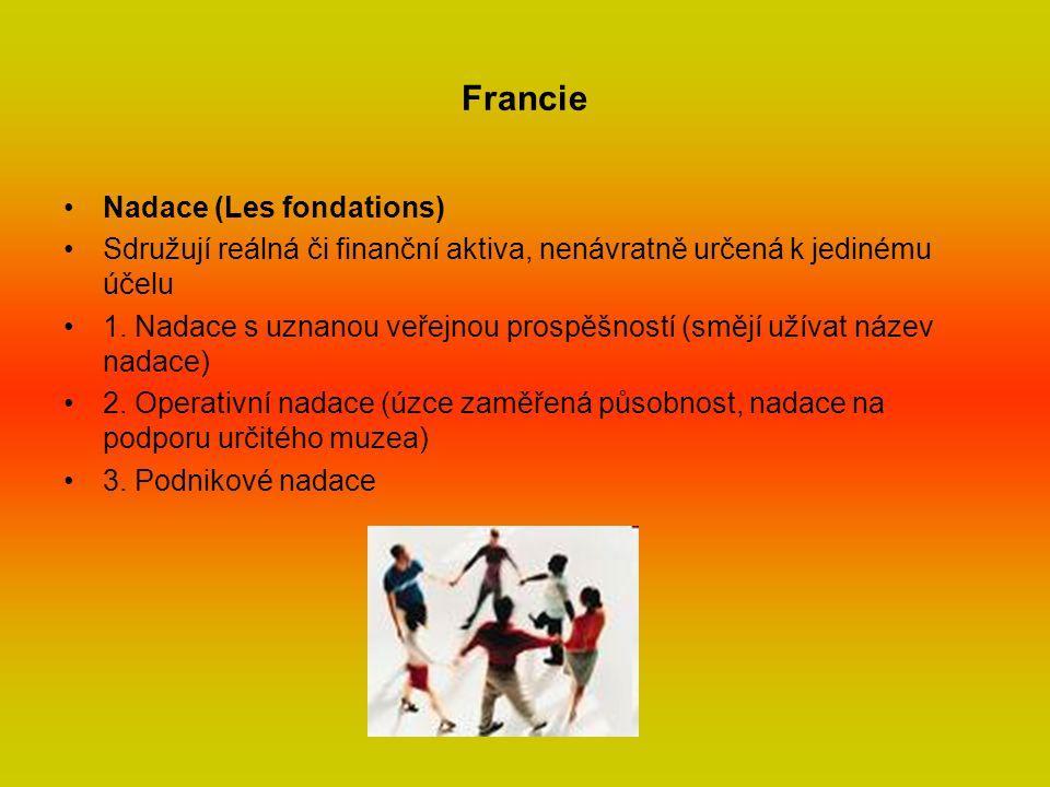 Francie Nadace (Les fondations) Sdružují reálná či finanční aktiva, nenávratně určená k jedinému účelu 1.