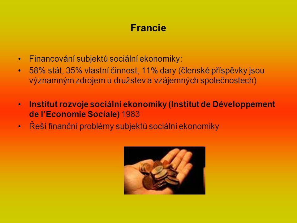 Francie Financování subjektů sociální ekonomiky: 58% stát, 35% vlastní činnost, 11% dary (členské příspěvky jsou významným zdrojem u družstev a vzájemných společnostech) Institut rozvoje sociální ekonomiky (Institut de Développement de l'Economie Sociale) 1983 Řeší finanční problémy subjektů sociální ekonomiky