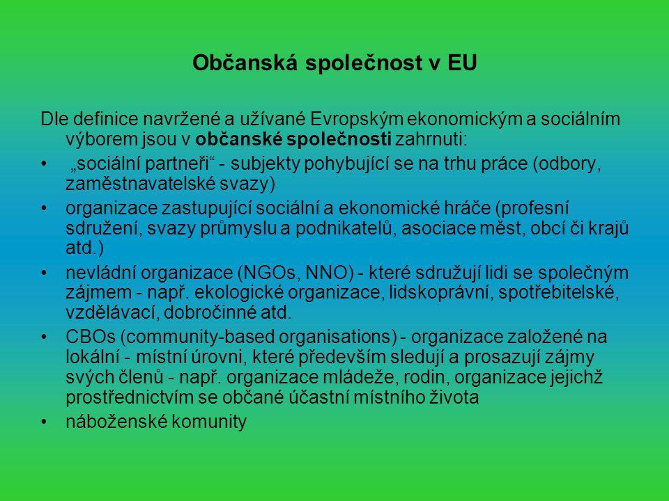 """Občanská společnost v EU Dle definice navržené a užívané Evropským ekonomickým a sociálním výborem jsou v občanské společnosti zahrnuti: """"sociální partneři - subjekty pohybující se na trhu práce (odbory, zaměstnavatelské svazy) organizace zastupující sociální a ekonomické hráče (profesní sdružení, svazy průmyslu a podnikatelů, asociace měst, obcí či krajů atd.) nevládní organizace (NGOs, NNO) - které sdružují lidi se společným zájmem - např."""