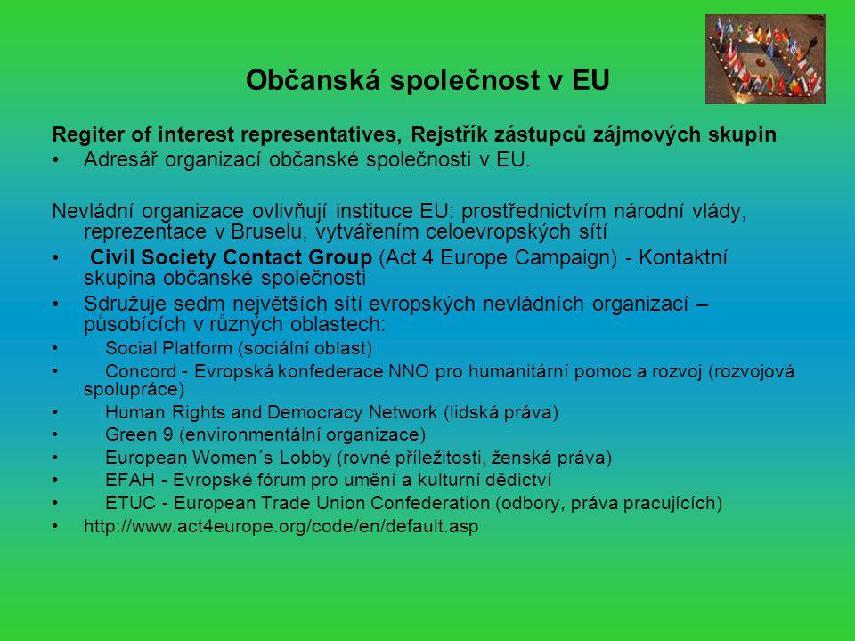 Občanská společnost v EU Regiter of interest representatives, Rejstřík zástupců zájmových skupin Adresář organizací občanské společnosti v EU.