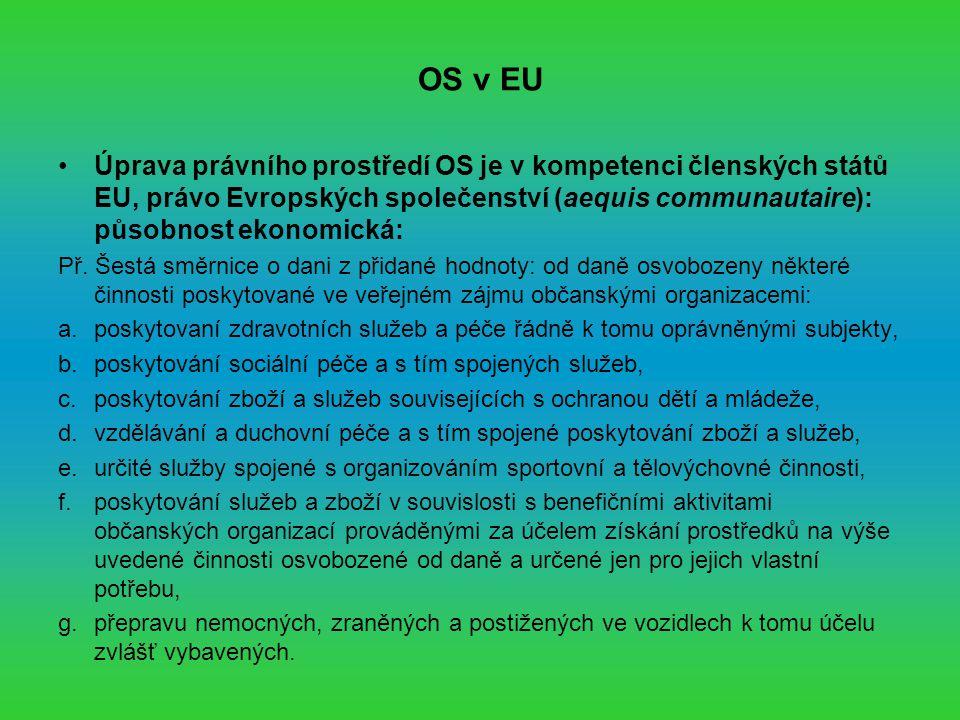 OS v EU Úprava právního prostředí OS je v kompetenci členských států EU, právo Evropských společenství (aequis communautaire): působnost ekonomická: Př.