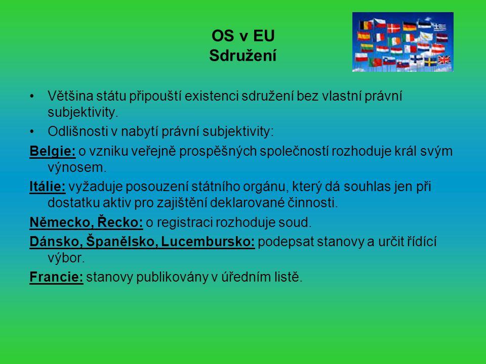 OS v EU Sdružení Většina státu připouští existenci sdružení bez vlastní právní subjektivity.