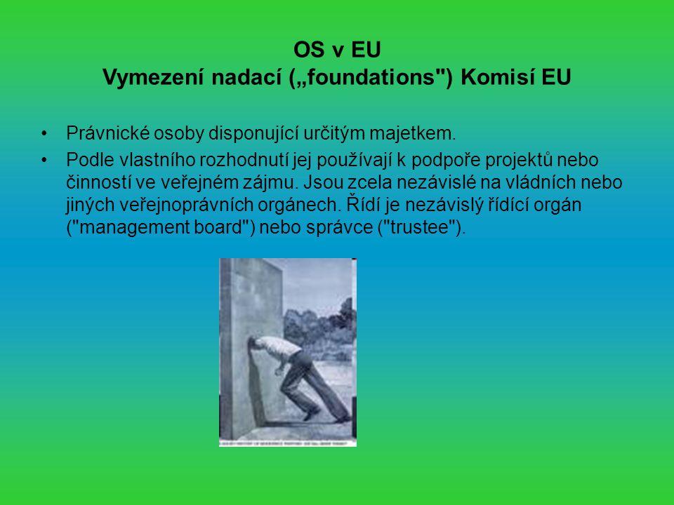 """OS v EU Vymezení nadací (""""foundations ) Komisí EU Právnické osoby disponující určitým majetkem."""