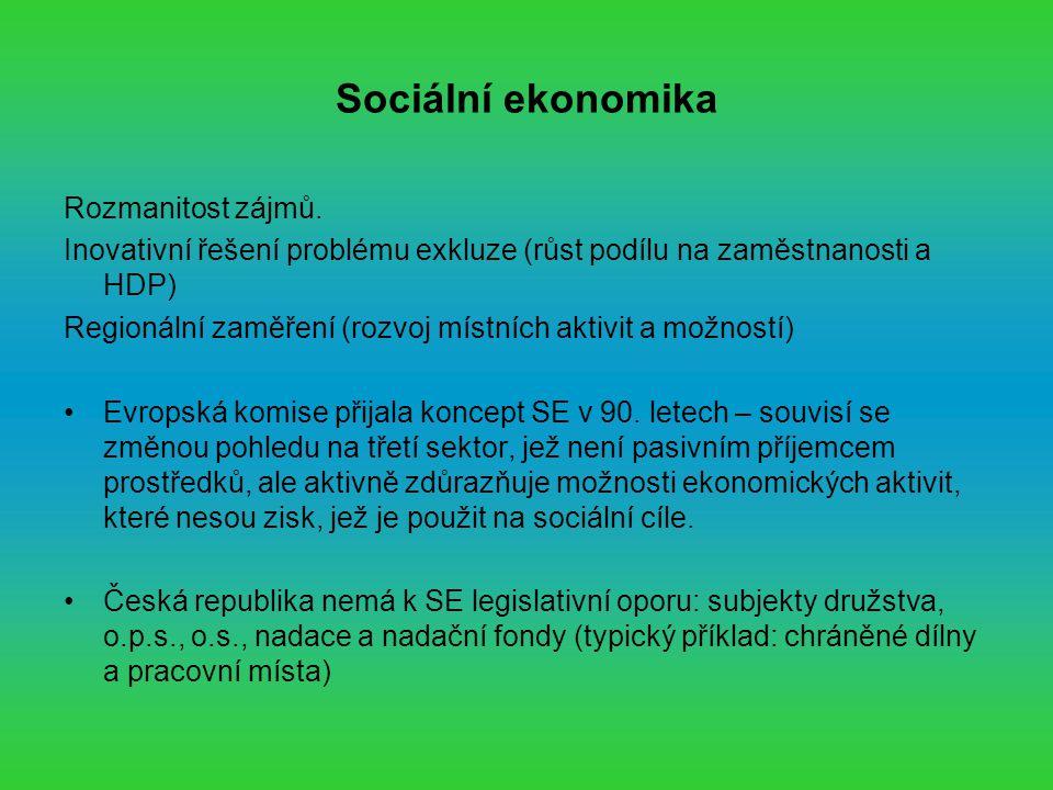 Sociální ekonomika Rozmanitost zájmů.