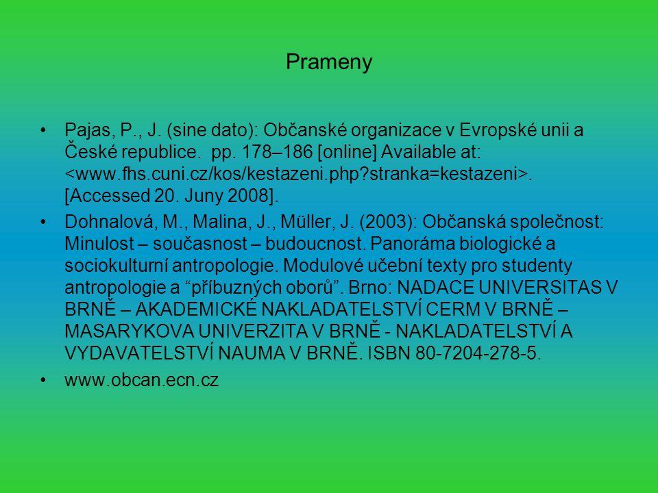 Prameny Pajas, P., J. (sine dato): Občanské organizace v Evropské unii a České republice.