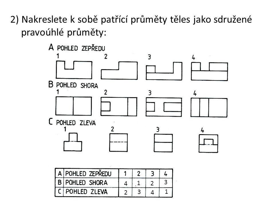 2) Nakreslete k sobě patřící průměty těles jako sdružené pravoúhlé průměty: 4 2 1 3 2 1 3 4
