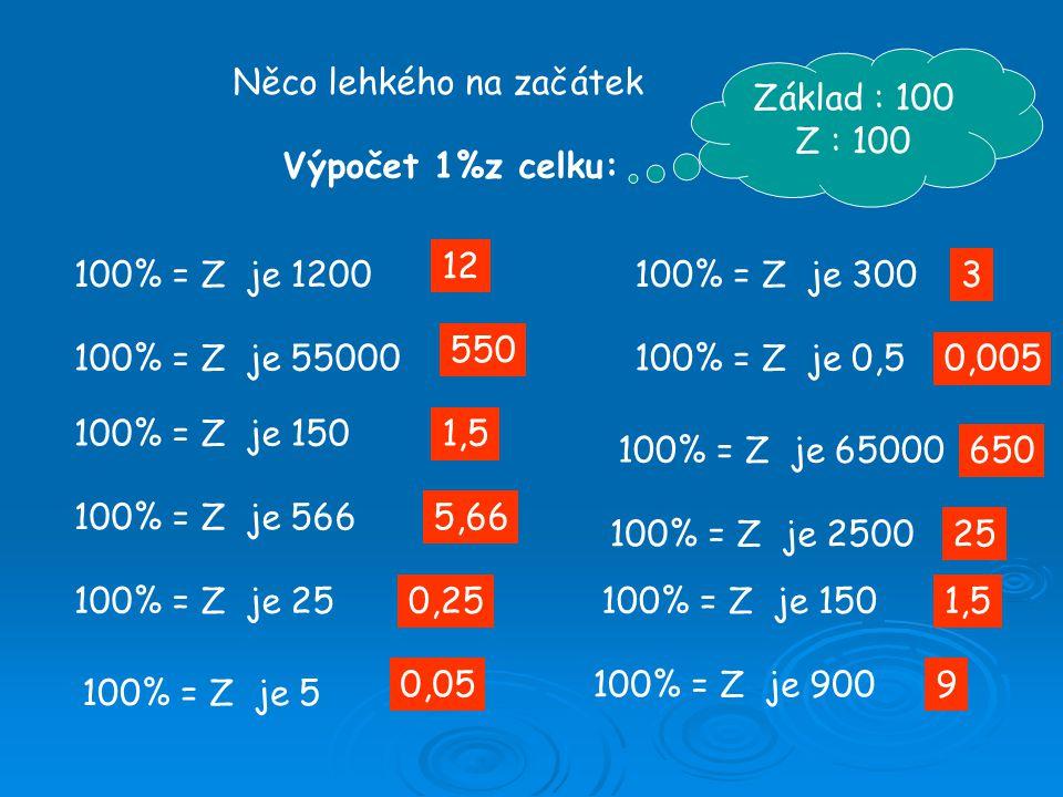 Něco lehkého na začátek Výpočet 1%z celku: 100% = Z je 1200 100% = Z je 55000 100% = Z je 65000 100% = Z je 0,5 100% = Z je 300 100% = Z je 150 100% = Z je 566 100% = Z je 25 100% = Z je 5 12 550 1,5 5,66 0,25 0,05 3 650 0,005 Základ : 100 Z : 100 100% = Z je 250025 100% = Z je 1501,5 100% = Z je 9009