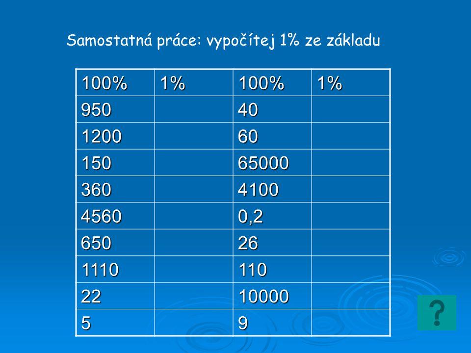 100%1%100%1% 95040 120060 15065000 3604100 45600,2 65026 1110110 2210000 59 Samostatná práce: vypočítej 1% ze základu