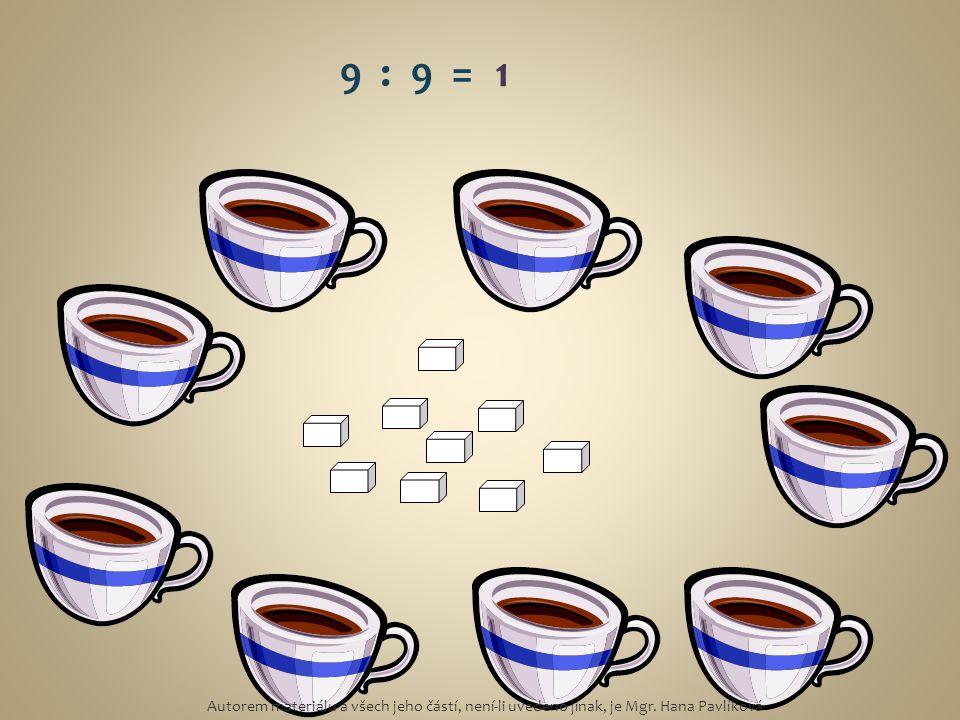 9 : 9 = 1 Autorem materiálu a všech jeho částí, není-li uvedeno jinak, je Mgr. Hana Pavlíková