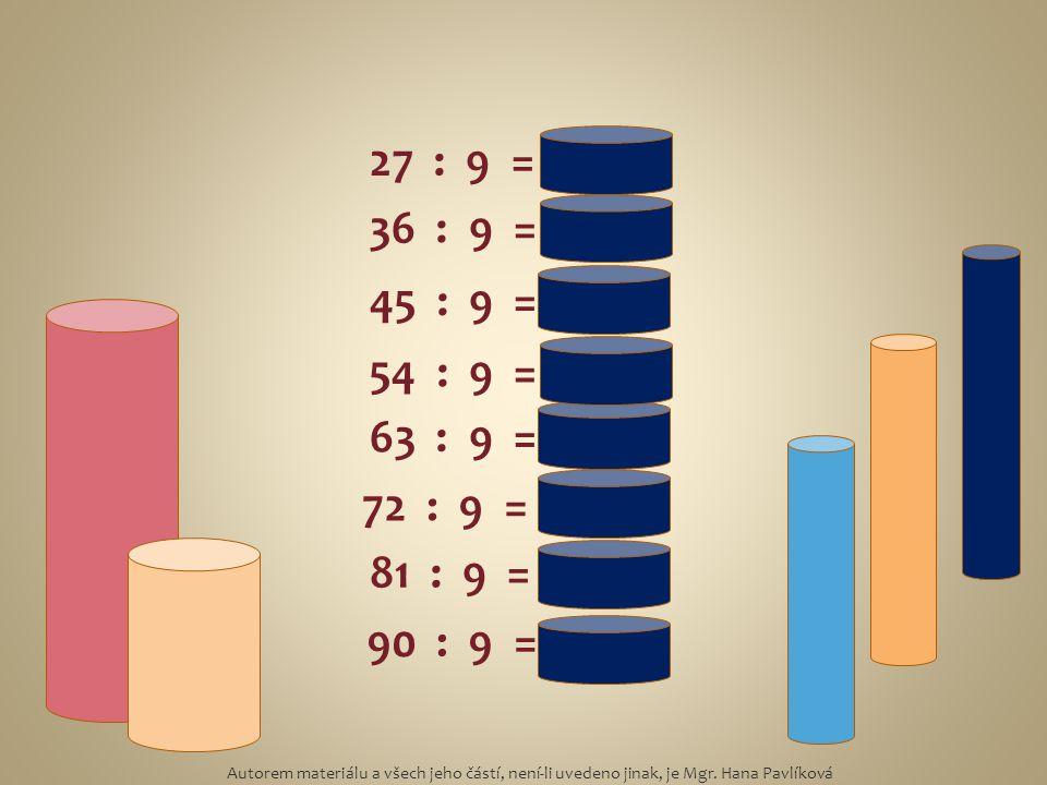 27 : 9 = 3 36 : 9 = 4 45 : 9 = 5 54 : 9 = 6 63 : 9 = 7 72 : 9 = 8 81 : 9 = 9 90 : 9 = 10 Autorem materiálu a všech jeho částí, není-li uvedeno jinak,