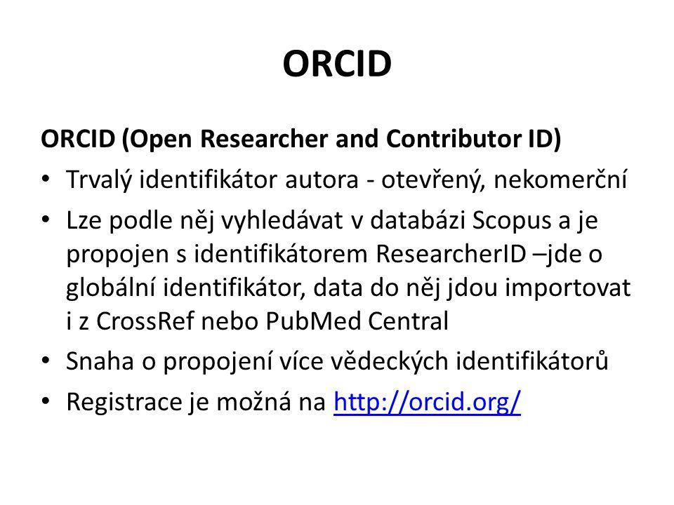 ORCID autor je určen 16 místným numerickým kódem např.