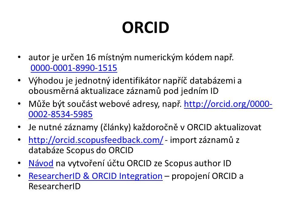 Návod na založení 1.Jděte na http://orcid.org/http://orcid.org/ 2.V pravém horním rohu klikněte na Sign in 3.Dále na Register for an ORCID iD