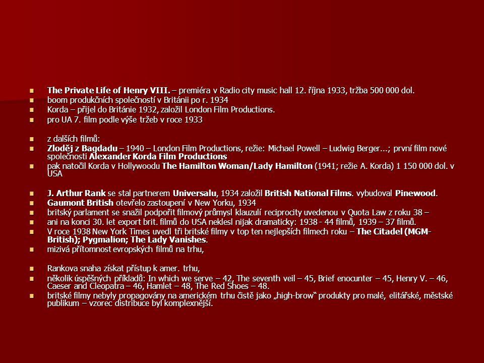 The Private Life of Henry VIII. – premiéra v Radio city music hall 12. října 1933, tržba 500 000 dol. The Private Life of Henry VIII. – premiéra v Rad