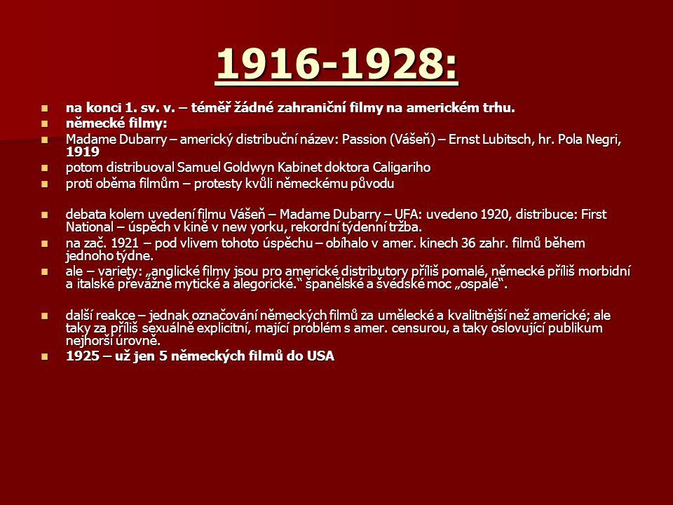 1916-1928: na konci 1. sv. v. – téměř žádné zahraniční filmy na americkém trhu. na konci 1. sv. v. – téměř žádné zahraniční filmy na americkém trhu. n