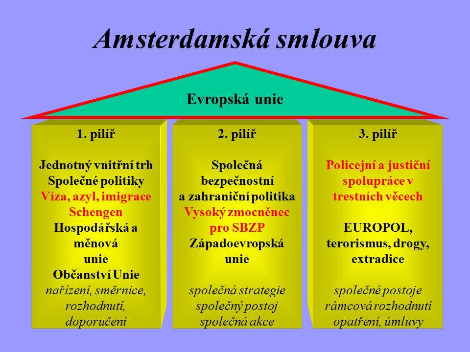 Od Maastrichtu po Amsterdam Evropská smlouva mezi EU a ČR (1/2/1995) Schengenská úmluva (B, D, E, F, LUX, NL, P) (1995) ČR žádá o členství v EU (17/1/