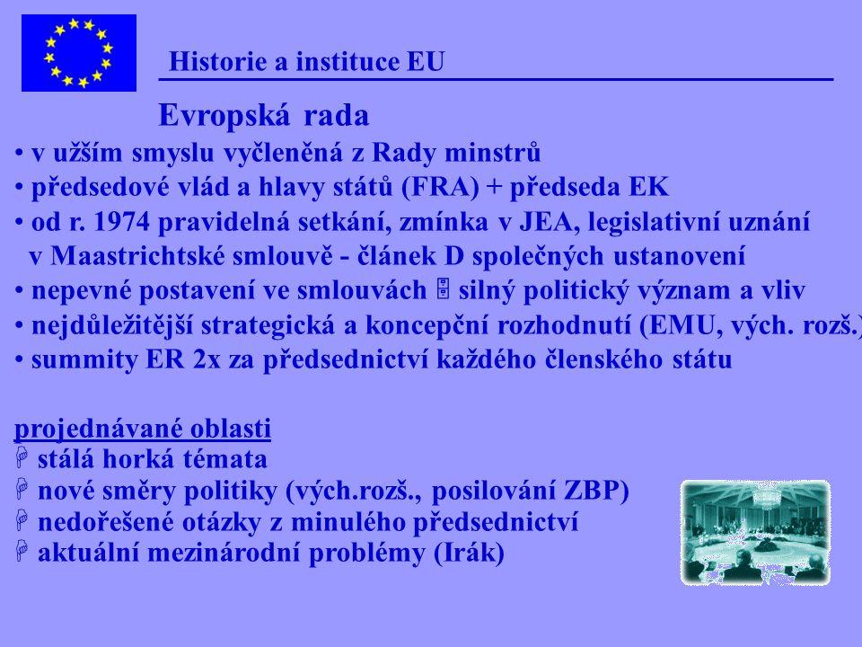 Historie a instituce EU Institucionální struktura ES Hlavní orgány ES/EU  Rada ministrů + Evropská rada  Evropská komise  Evropský parlament  Evro