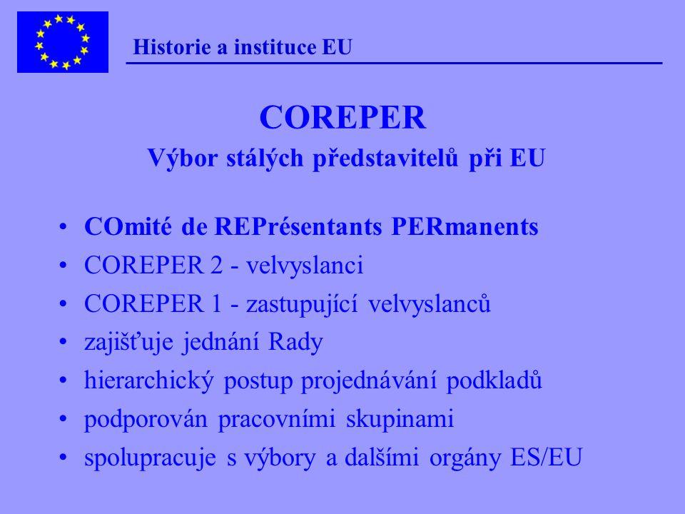 Historie a instituce EU Předsednictví v Radě  střídá se každých 6 měsíců (leden - červen, červenec - prosinec)  PS předsedá a organizuje jednání Rad