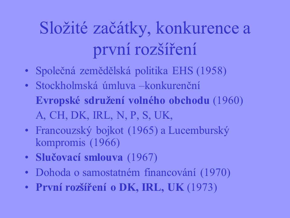 Složité začátky, konkurence a první rozšíření Společná zemědělská politika EHS (1958) Stockholmská úmluva –konkurenční Evropské sdružení volného obchodu (1960) A, CH, DK, IRL, N, P, S, UK, Francouzský bojkot (1965) a Lucemburský kompromis (1966) Slučovací smlouva (1967) Dohoda o samostatném financování (1970) První rozšíření o DK, IRL, UK (1973)