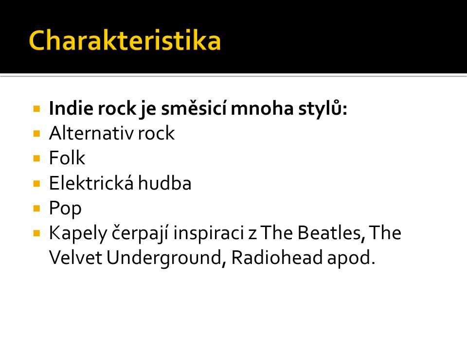  Indie rock je směsicí mnoha stylů:  Alternativ rock  Folk  Elektrická hudba  Pop  Kapely čerpají inspiraci z The Beatles, The Velvet Undergroun