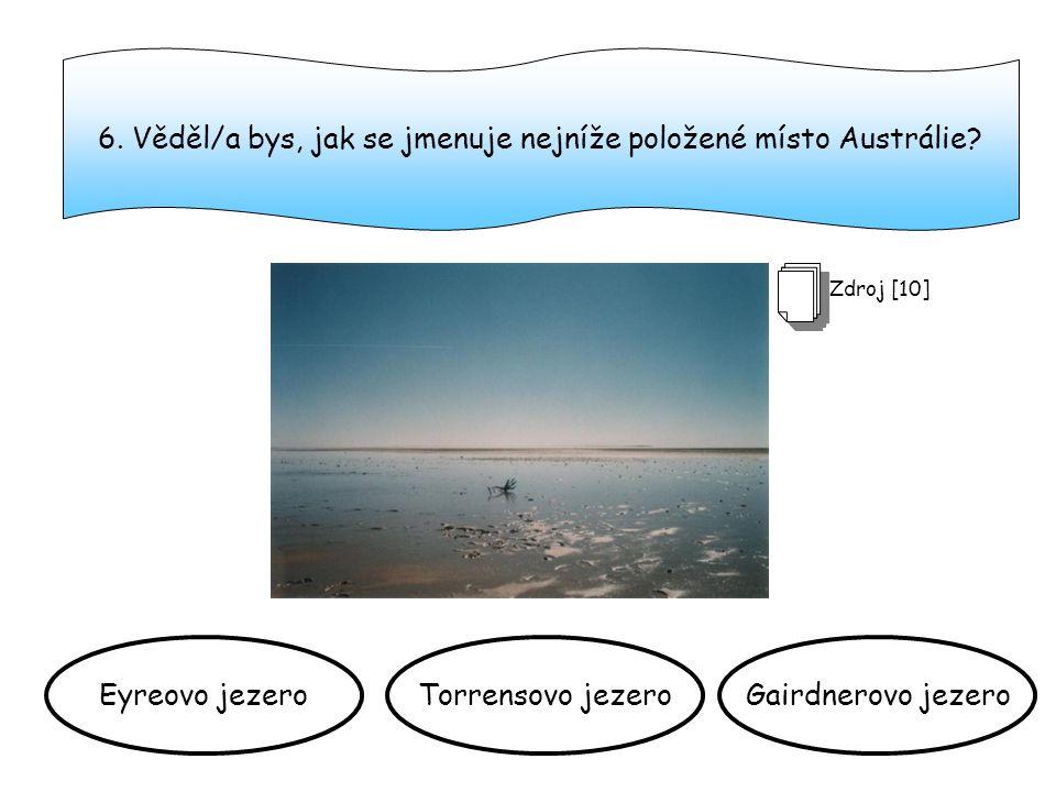6.Věděl/a bys, jak se jmenuje nejníže položené místo Austrálie.