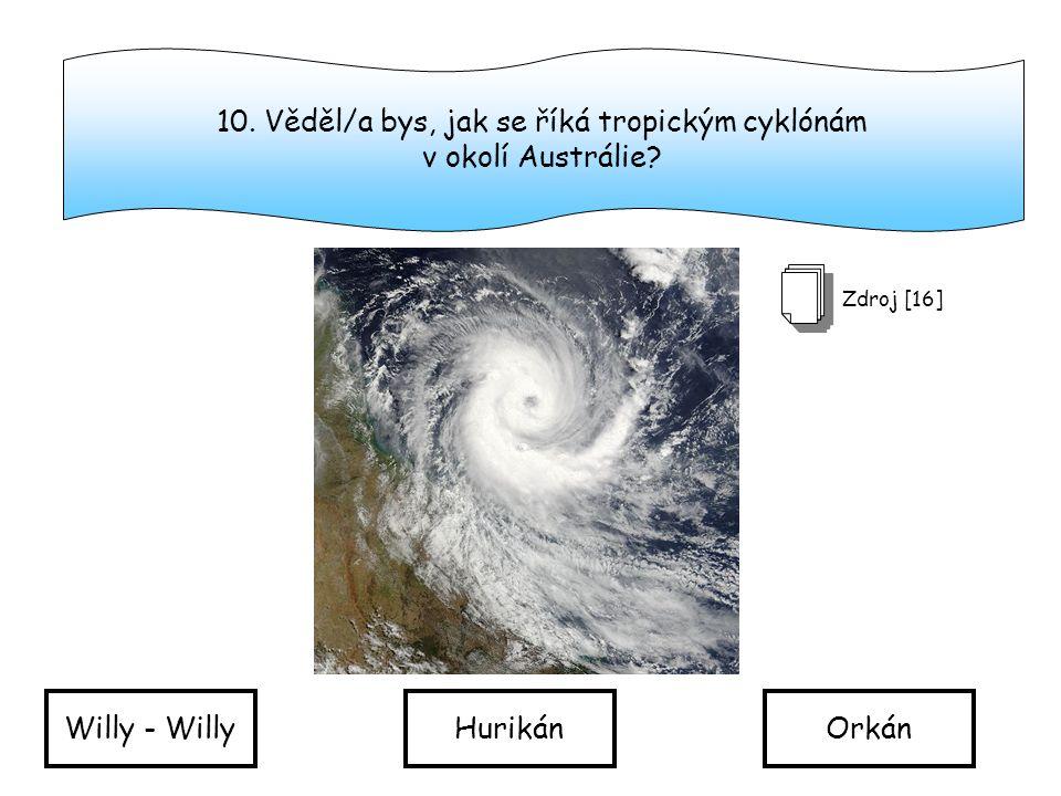 10.Věděl/a bys, jak se říká tropickým cyklónám v okolí Austrálie.