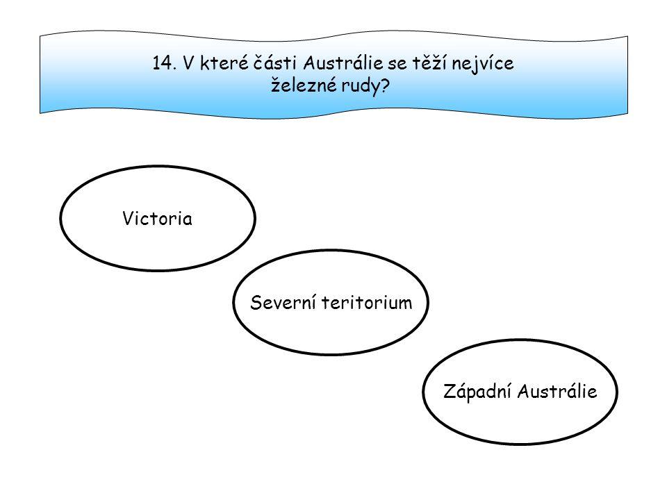 14.V které části Austrálie se těží nejvíce železné rudy.