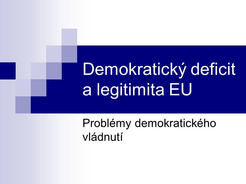 Legitimizační strategie Procedurální (komunikativní) strategie:  EU je chápána jako společenství sdílených pravidel a práv  Je založena na jednotné politické kultuře (tolerance, respekt k jednotlivci, lidská práva, debata, racionalita, kompromis, institucionální zprostředkování konfliktu)  Takto EU postupovalo zejména po Maastrichtu → vytváření pravidel a procedur