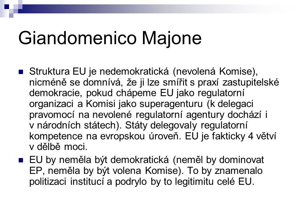Giandomenico Majone Struktura EU je nedemokratická (nevolená Komise), nicméně se domnívá, že ji lze smířit s praxí zastupitelské demokracie, pokud chápeme EU jako regulatorní organizaci a Komisi jako superagenturu (k delegaci pravomocí na nevolené regulatorní agentury dochází i v národních státech).