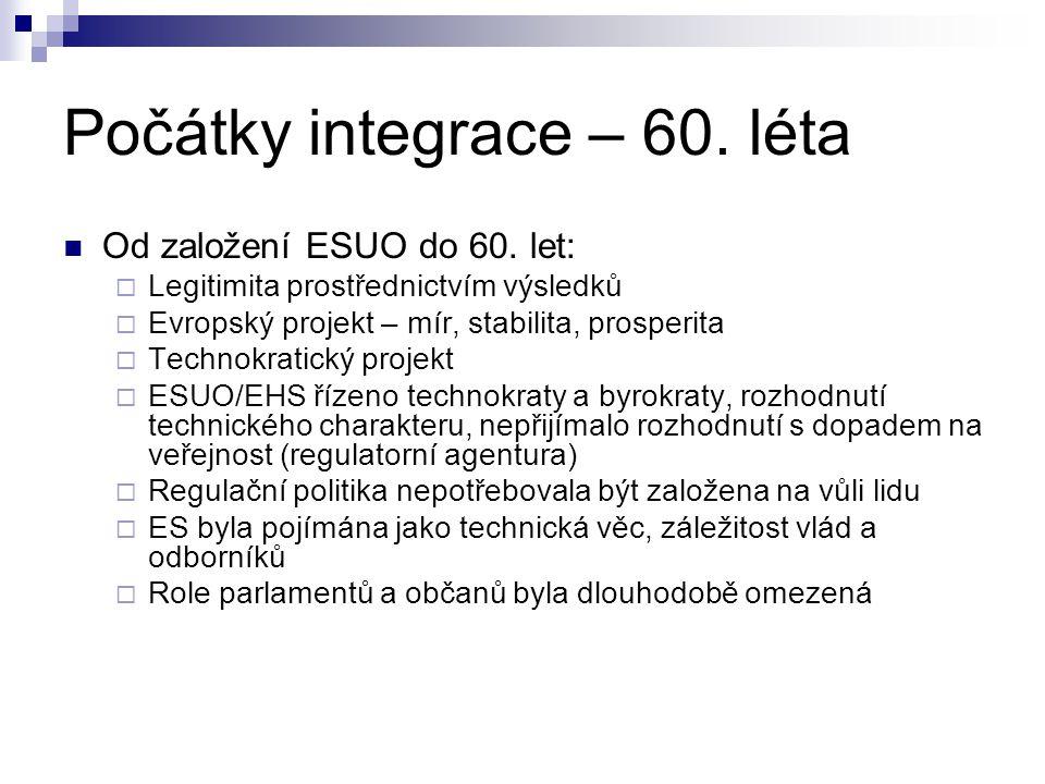 Počátky integrace – 60. léta Od založení ESUO do 60. let:  Legitimita prostřednictvím výsledků  Evropský projekt – mír, stabilita, prosperita  Tech