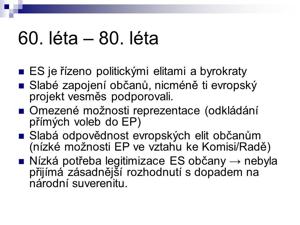 60. léta – 80. léta ES je řízeno politickými elitami a byrokraty Slabé zapojení občanů, nicméně ti evropský projekt vesměs podporovali. Omezené možnos
