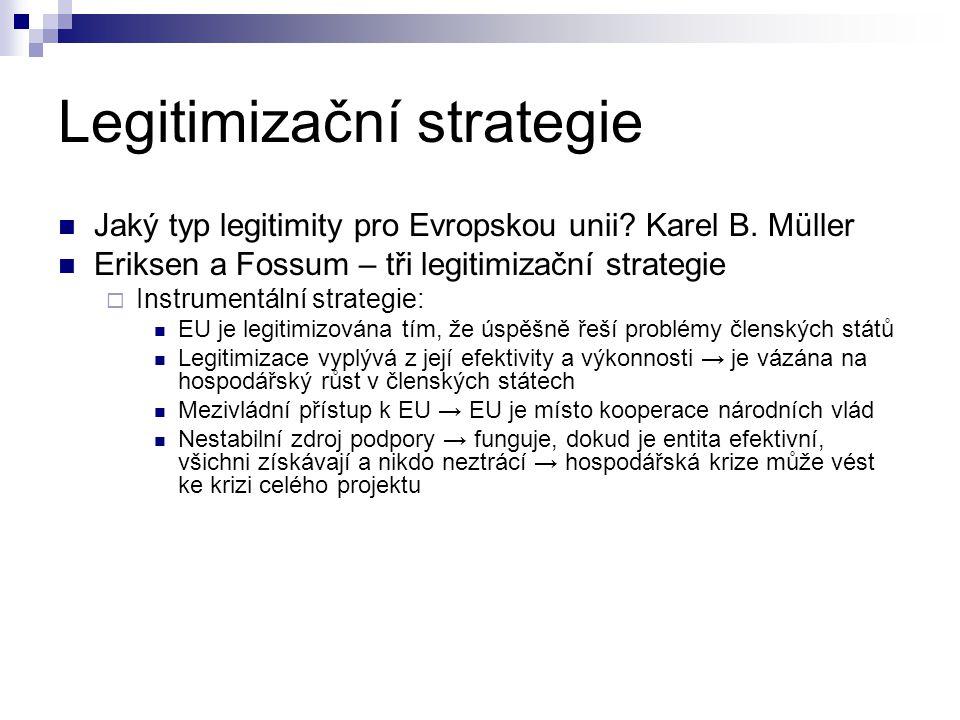 Legitimizační strategie Jaký typ legitimity pro Evropskou unii.