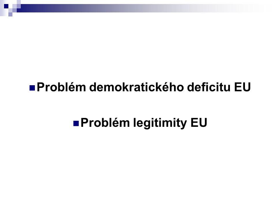 Demokratický deficit Náhled na demokratický deficit (zda existuje, neexistuje, co je to) se odvíjí od toho, co jednotliví autoři považují za finalitu Evropské unie 2 základní proudy: 1.