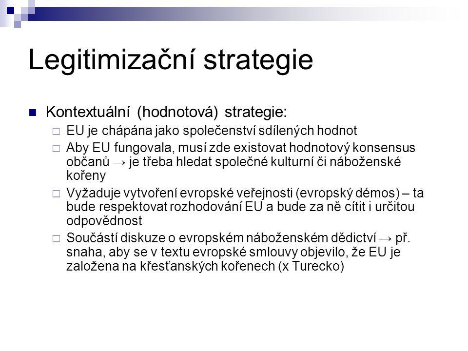 Legitimizační strategie Kontextuální (hodnotová) strategie:  EU je chápána jako společenství sdílených hodnot  Aby EU fungovala, musí zde existovat hodnotový konsensus občanů → je třeba hledat společné kulturní či náboženské kořeny  Vyžaduje vytvoření evropské veřejnosti (evropský démos) – ta bude respektovat rozhodování EU a bude za ně cítit i určitou odpovědnost  Součástí diskuze o evropském náboženském dědictví → př.