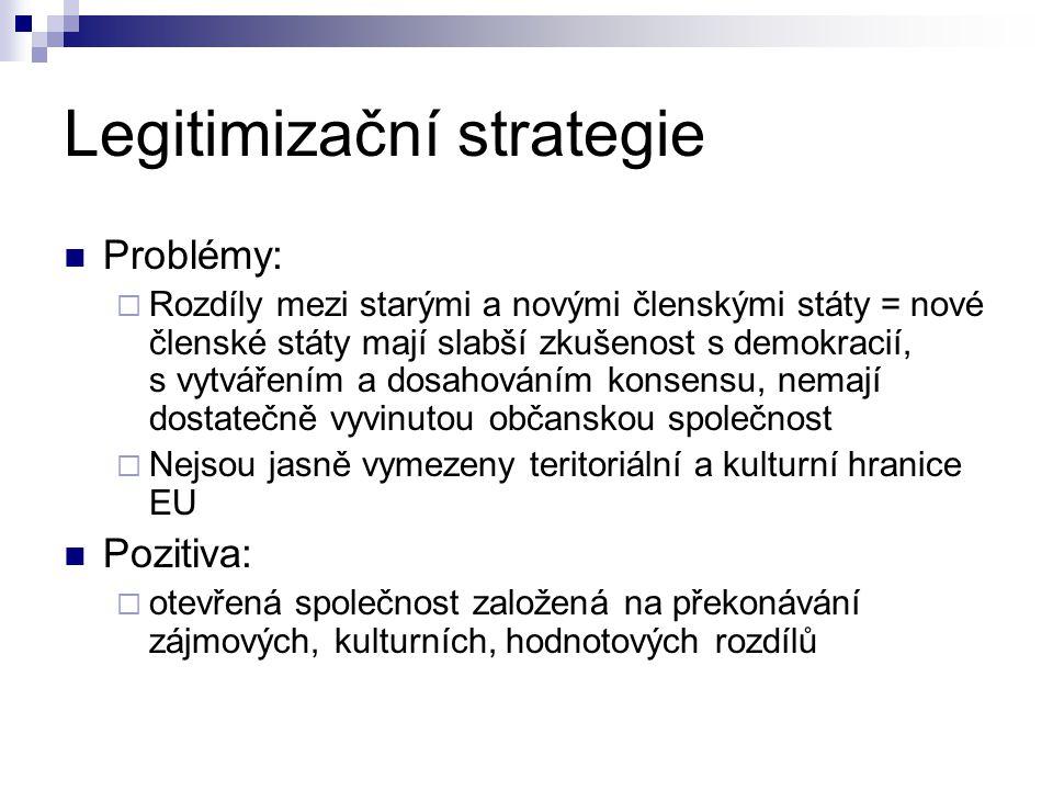 Legitimizační strategie Problémy:  Rozdíly mezi starými a novými členskými státy = nové členské státy mají slabší zkušenost s demokracií, s vytvářením a dosahováním konsensu, nemají dostatečně vyvinutou občanskou společnost  Nejsou jasně vymezeny teritoriální a kulturní hranice EU Pozitiva:  otevřená společnost založená na překonávání zájmových, kulturních, hodnotových rozdílů