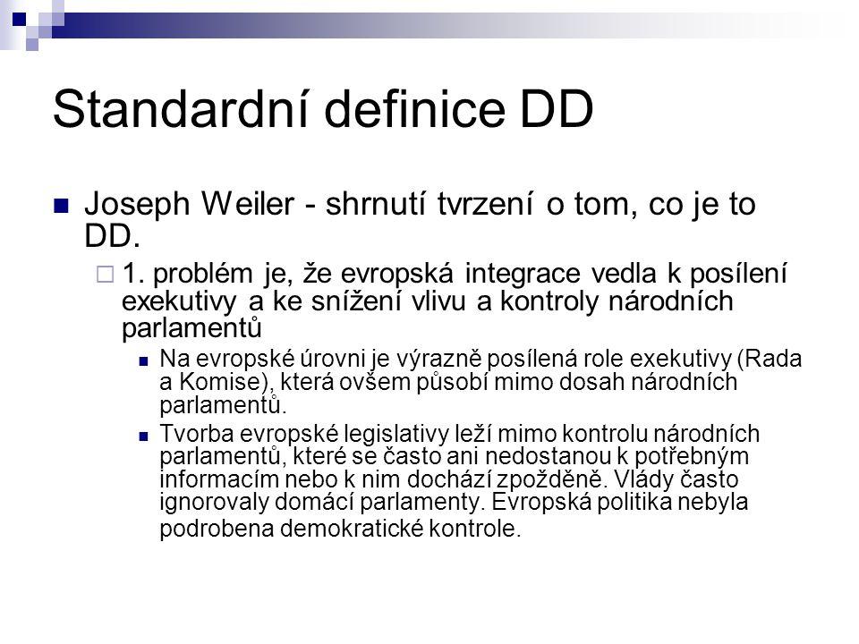 Standardní definice DD Joseph Weiler - shrnutí tvrzení o tom, co je to DD.  1. problém je, že evropská integrace vedla k posílení exekutivy a ke sníž