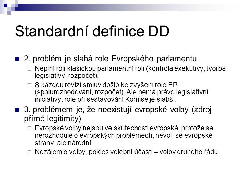 Standardní definice DD 2. problém je slabá role Evropského parlamentu  Neplní roli klasickou parlamentní roli (kontrola exekutivy, tvorba legislativy
