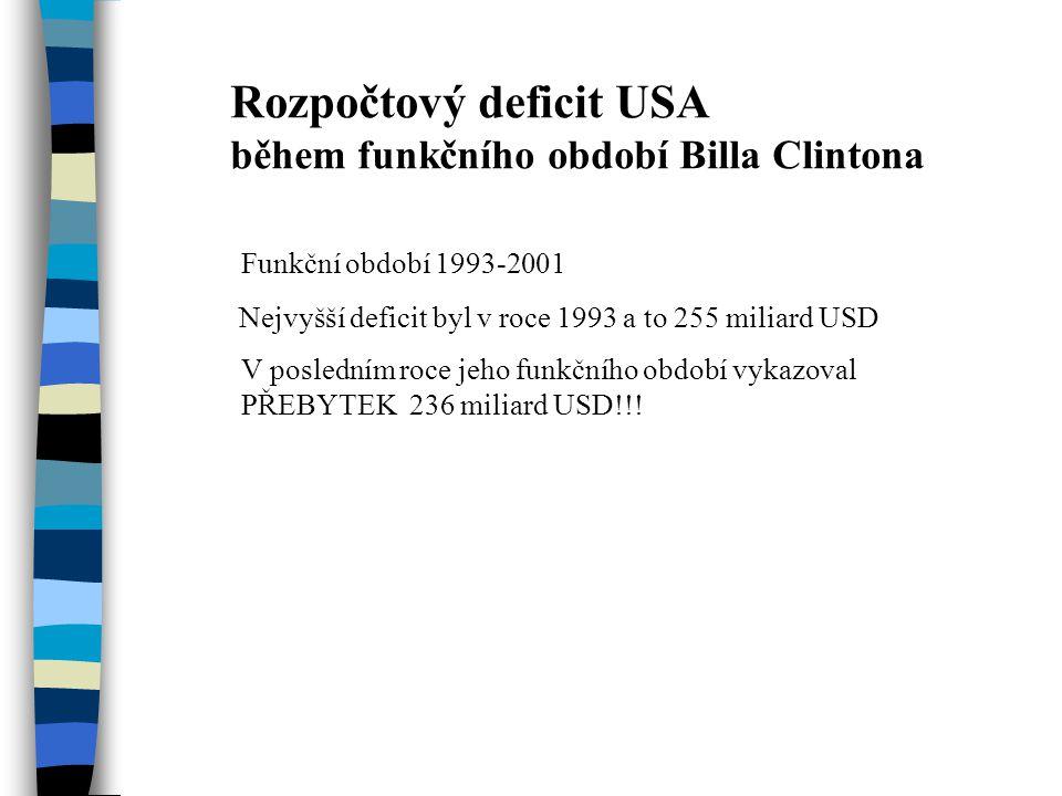 Rozpočtový deficit USA během funkčního období Billa Clintona Funkční období 1993-2001 Nejvyšší deficit byl v roce 1993 a to 255 miliard USD V posledním roce jeho funkčního období vykazoval PŘEBYTEK 236 miliard USD!!!