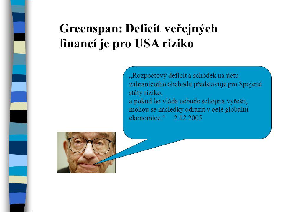 """Greenspan: Deficit veřejných financí je pro USA riziko """"Rozpočtový deficit a schodek na účtu zahraničního obchodu představuje pro Spojené státy riziko, a pokud ho vláda nebude schopna vyřešit, mohou se následky odrazit v celé globální ekonomice. 2.12.2005"""