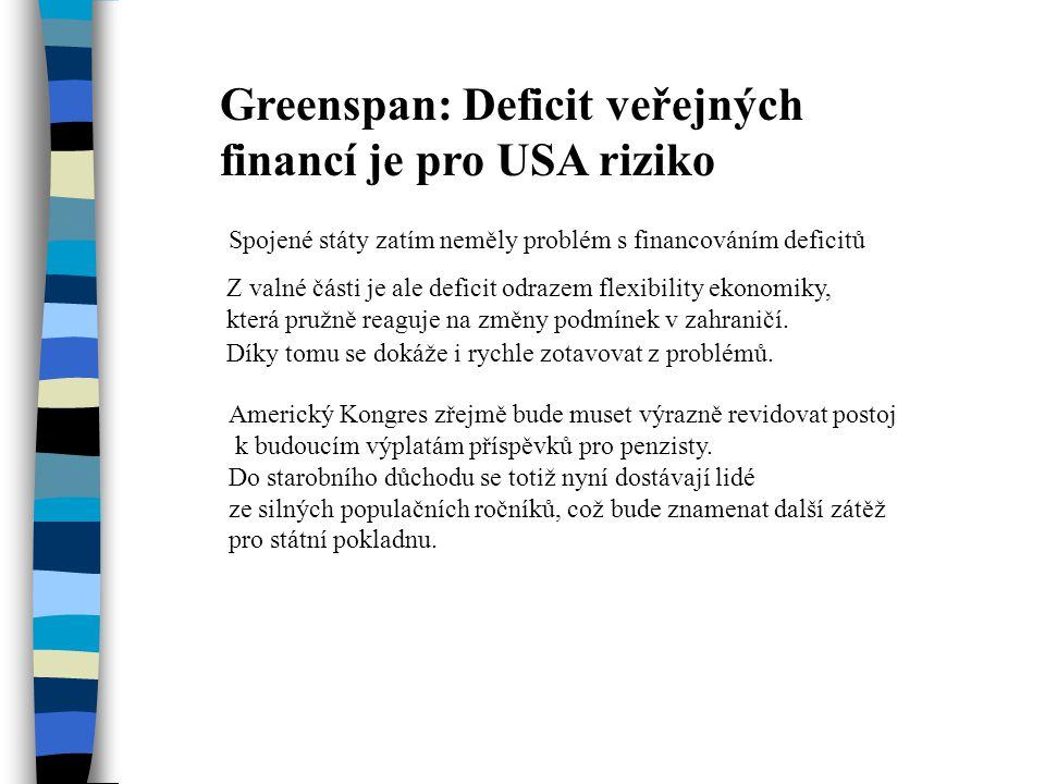 Greenspan: Deficit veřejných financí je pro USA riziko Spojené státy zatím neměly problém s financováním deficitů Z valné části je ale deficit odrazem flexibility ekonomiky, která pružně reaguje na změny podmínek v zahraničí.