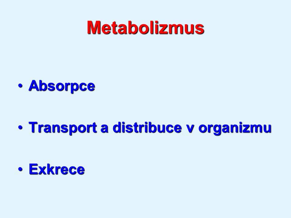 Metabolizmus AbsorpceAbsorpce Transport a distribuce v organizmuTransport a distribuce v organizmu ExkreceExkrece