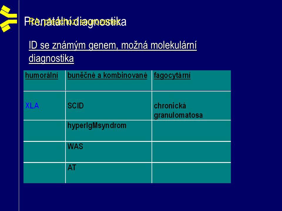 Prenatální diagnostika RA, předchozí sourozenec ID se známým genem, možná molekulární diagnostika