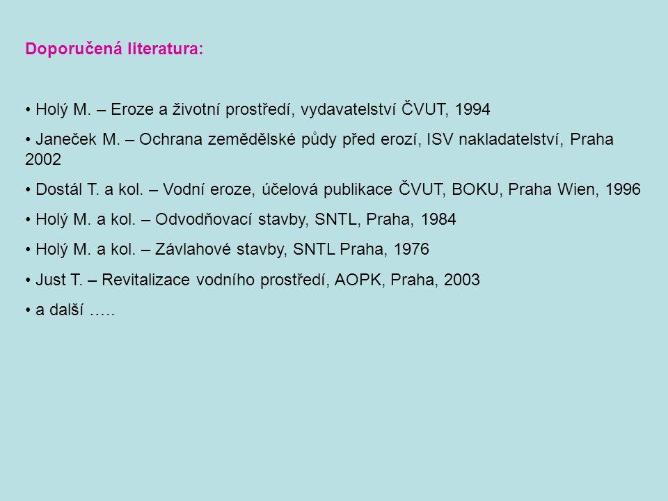 Doporučená literatura: Holý M. – Eroze a životní prostředí, vydavatelství ČVUT, 1994 Janeček M. – Ochrana zemědělské půdy před erozí, ISV nakladatelst