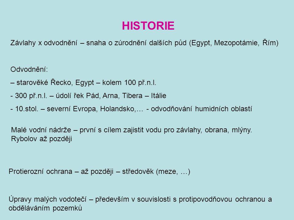HISTORIE Závlahy x odvodnění – snaha o zúrodnění dalších půd (Egypt, Mezopotámie, Řím) Odvodnění: – starověké Řecko, Egypt – kolem 100 př.n.l. - 300 p