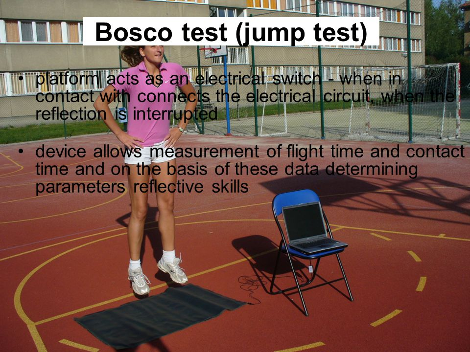 platform acts as an electrical switch - when in contact with connects the electrical circuit, when the reflection is interrupted device allows measurement of flight time and contact time and on the basis of these data determining parameters reflective skills Bosco test (jump test)