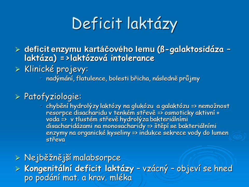Deficit laktázy  deficit laktázy – u dětí vzniká po GIT infekcích, průjmech, parenterální výživě, u Crohnovy choroby, po radiační enteritidě  s věkem ubývá laktázy (již po 2.